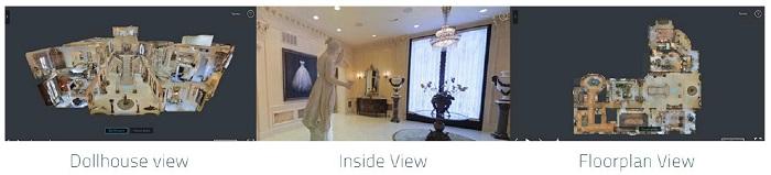 les différentes vues 3D d'un appartement grâce à Matterport