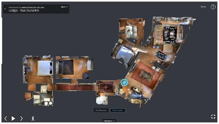La vue Floorplan d'un appartement grâce à Matterport