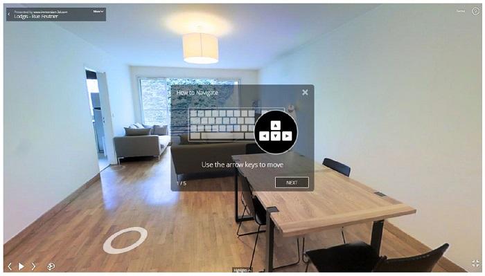 Utilisation du clavier et de la souris pour visualiser un appartement