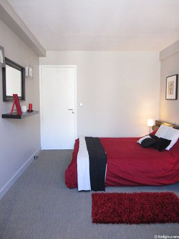 Bedroom with the carpeting floor
