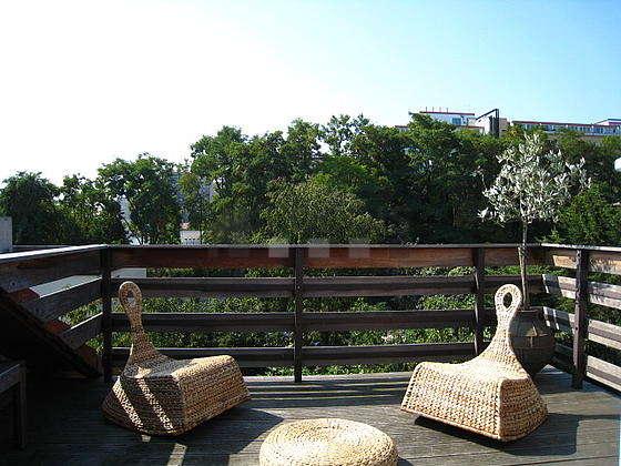 Terrasse exposée plein sud et vue sur jardin