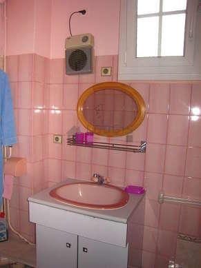 Salle de bain avec fenêtres et du linoleum au sol