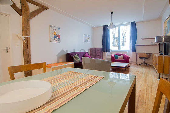 Very quiet living room furnished with 1 sofabed(s) of 160cm, tv, hi-fi stereo, 2 armchair(s)