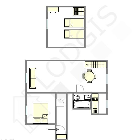 Duplex Hauts de seine Sud - Interaktiven Plan