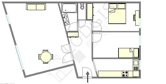 Apartamento Paris 14° - Plano interativo