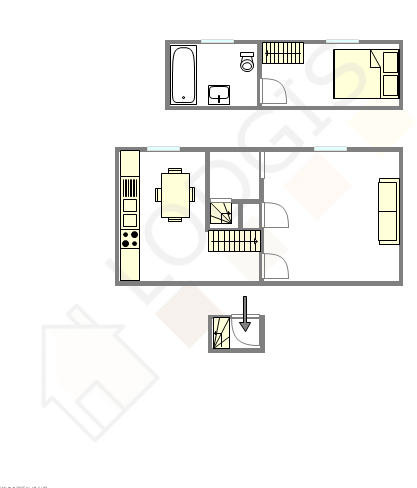 Duplex Paris 11° - Plan interactif