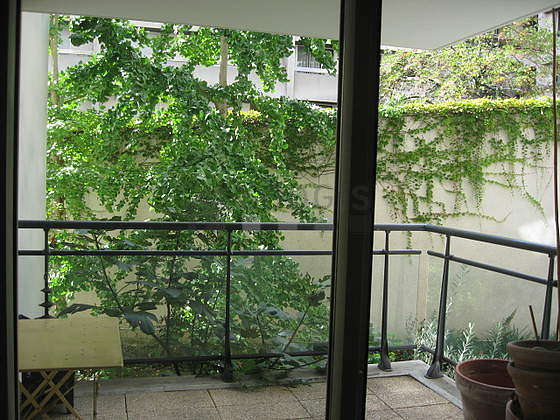 Balcony facing due south-west and view on garden