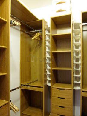 Very quiet walk-in closet with wooden floor