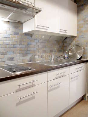 Kitchen equipped with hob, refrigerator, freezer, hood