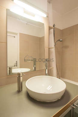 Bathroom equipped with washing machine, tub, shower in tub
