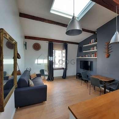 Séjour calme équipé de 1 canapé(s) lit(s) de 140cm, téléviseur, 1 fauteuil(s), 4 chaise(s)