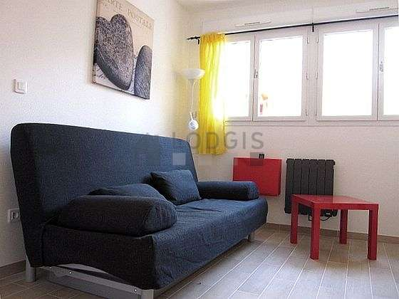 Very quiet living room furnished with 1 sofabed(s) of 160cm, tv, hi-fi stereo, wardrobe