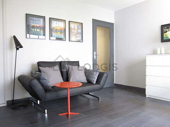 Very quiet living room furnished with 1 murphy bed(s) of 140cm, tv, hi-fi stereo, wardrobe