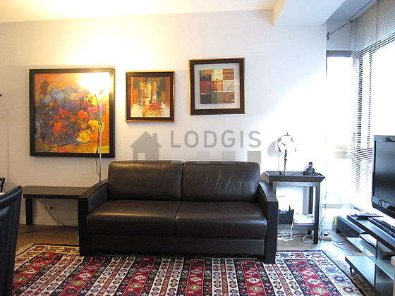 Quiet living room furnished with 1 sofabed(s) of 140cm, tv, dvd player, cupboard