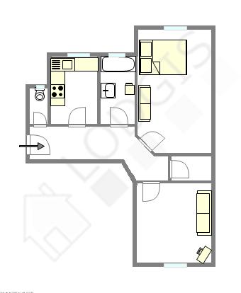 Wohnung Paris 13° - Interaktiven Plan