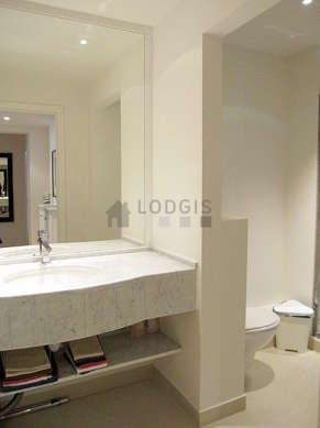 Pleasant bathroom with tile floor