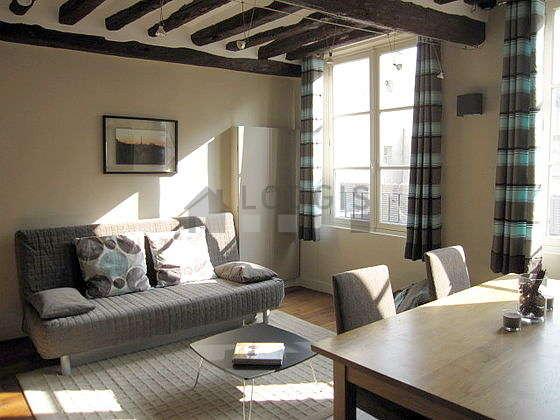 Séjour équipé de 1 canapé(s) lit(s) de 160cm, téléviseur, placard, 4 chaise(s)