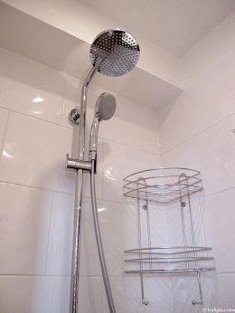 Salle de bain équipée de douche séparée, sanibroyeur