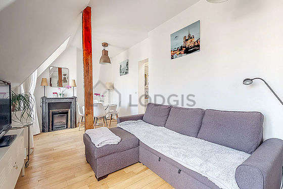 Living room furnished with 1 sofabed(s) of 120cm, tv, hi-fi stereo, 1 armchair(s)