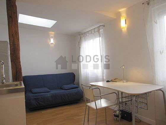 Very quiet living room furnished with 1 sofabed(s) of 140cm, dining table, coffee table, wardrobe