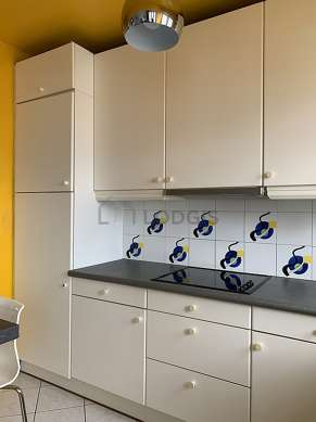 Kitchen equipped with dryer, refrigerator, freezer, extractor hood