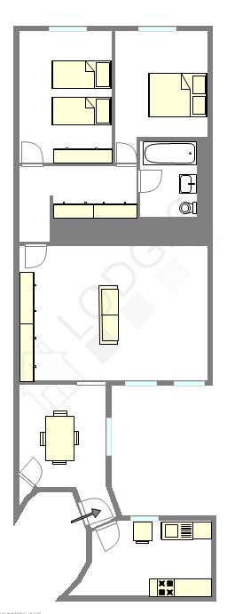 Appartement Paris 6° - Plan interactif
