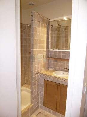 Pleasant bathroom with marble floor