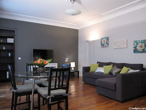 Very quiet living room furnished with 1 sofabed(s) of 160cm, tv, hi-fi stereo, fan