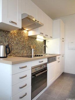 Cuisine équipée de lave vaisselle, plaques de cuisson, hotte, vaisselle