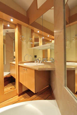 Beautiful bathroom with wooden floor