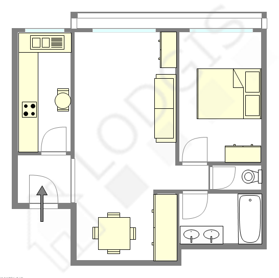 Appartement Paris 20° - Plan interactif