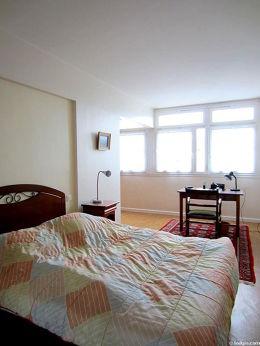 Bedroom with its linoleum floor