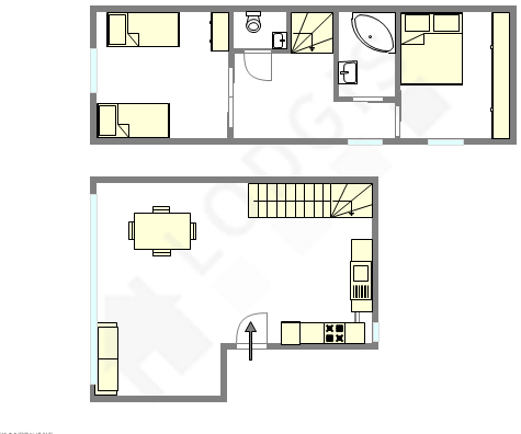 Duplex Paris 18° - Plan interactif