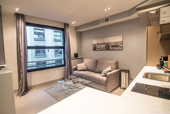 Séjour calme équipé de 1 canapé(s) lit(s) de 140cm, air conditionné, téléviseur, 4 chaise(s)