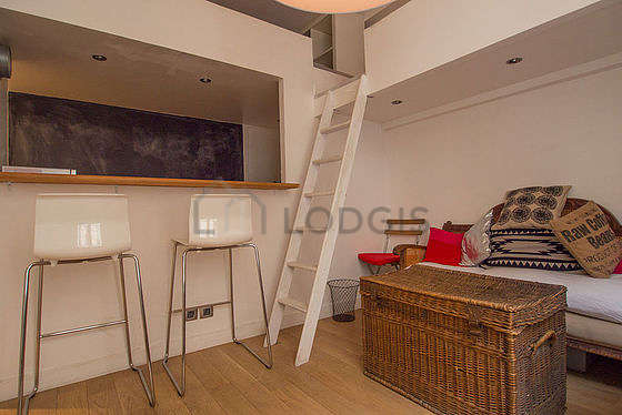 Quiet living room furnished with 1 loft bed(s) of 140cm, tv, 1 armchair(s), 2 chair(s)