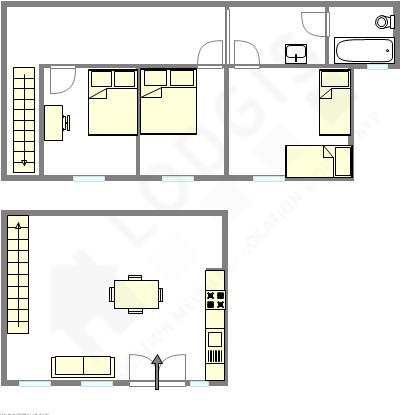 Duplex Paris 6° - Plan interactif