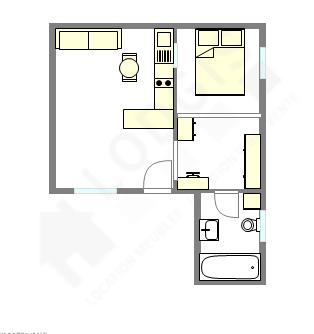 公寓 巴黎15区 - 平面图