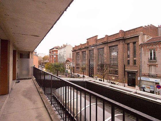 Bright balcony with concrete floor