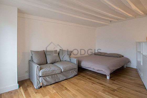 Quiet living room furnished with 1 sofabed(s) of 140cm, 1 bed(s) of 180cm, dvd player
