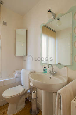 Beautiful and bright bathroom with windows and with wooden floor