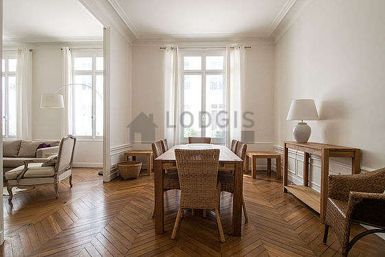 Beautiful dining room with wooden floor