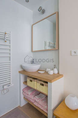Beautiful and bright bathroom with wooden floor