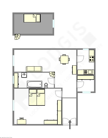 公寓 巴黎2区 - 平面图