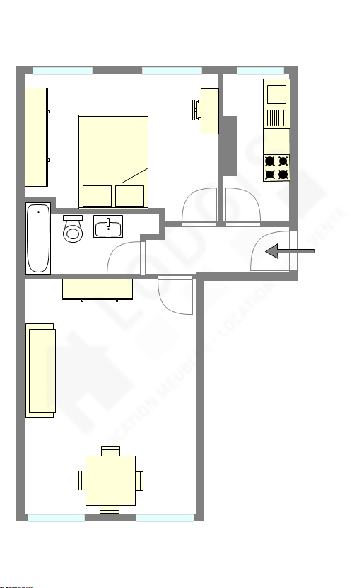 Appartement Paris 11° - Plan interactif