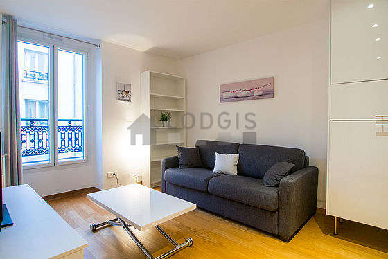 Quiet living room furnished with 1 sofabed(s) of 160cm, tv, cupboard, 4 chair(s)