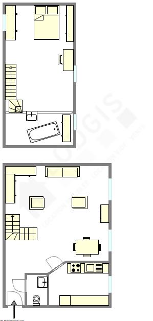 Duplex Paris 14° - Plan interactif