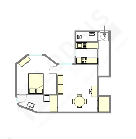 Appartement Paris 15° - Plan interactif