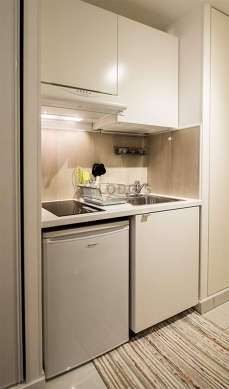 Kitchen equipped with hob, refrigerator, extractor hood, crockery