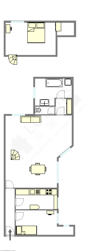 双层公寓 巴黎6区 - 平面图