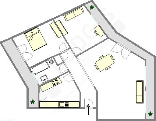 Appartement Paris 17° - Plan interactif